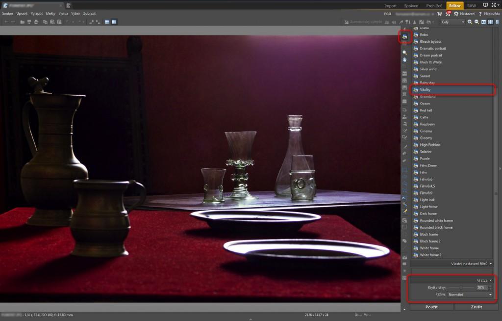Použití nástroje Rychlé filtry (Shift+K) pro zatraktivnění obrazu