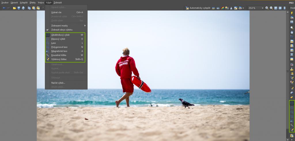 Na nástroj Výběr se dostanete z horizontální i vertikální nástrojové lišty v Editoru.jpg