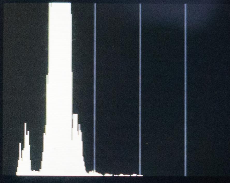 Silná podexpozice je patrná z histogramu