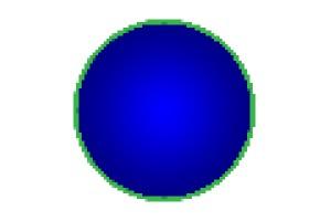 Obrazec tvořený rastrovou grafikou zmenšený na 10 procent a následně zvětšený na původní velikost. Oproti původnímu obrazci je degradace velmi patrná, a to i v jemných barevných přechodech modré výplně obrazce.jpg