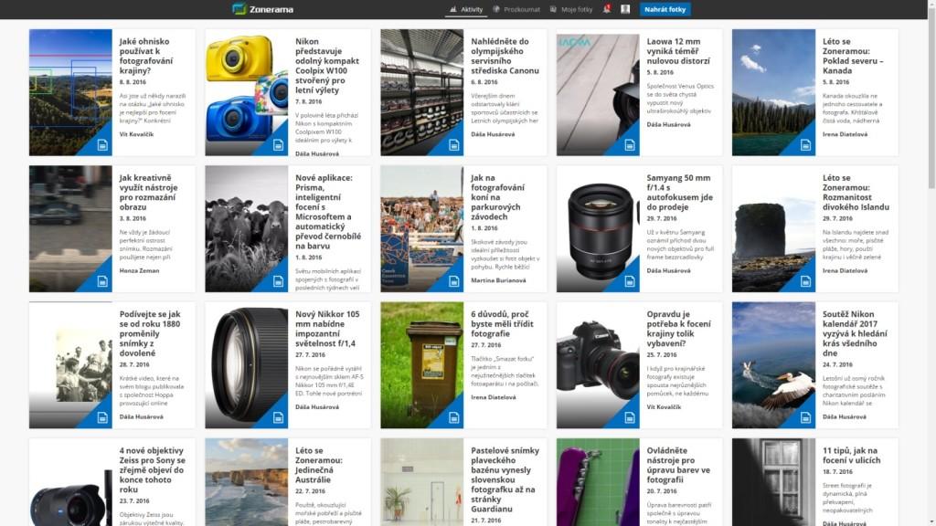 Po nastavení jména a adresy galerie se vám otevře obdobná hlavní stránka Zoneramy nazvaná Aktivity s aktualitami. Zajímavé a úspěšné či nejnovější fotografie najdete v nabídce Prozkoumat. Vaši galerii najdete pod nabídkou Moje fotky.jpg