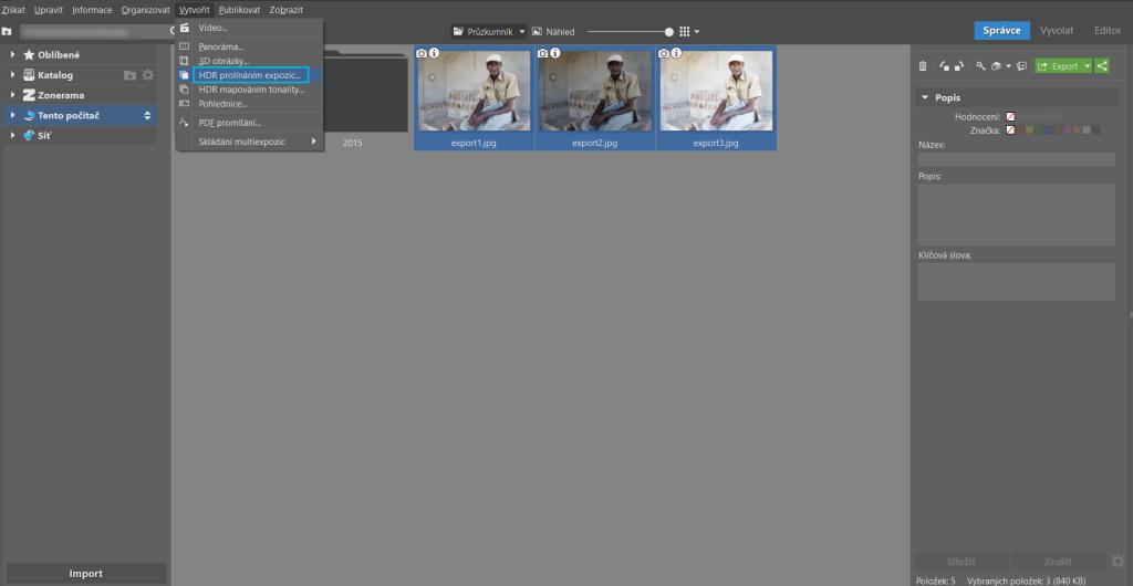 Výběr fotografií v ZPS a zvolení funkce HDR.