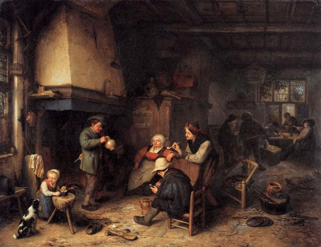 Adriaen van Ostade, Peasants in an interior, 1661