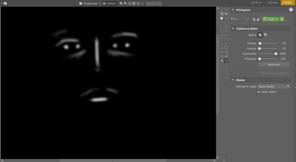 Zobrazení Pouze maska vám přehledně ukáže, kde má maska plnou nebo slabou sílu, popřípadě kde není vůbec.