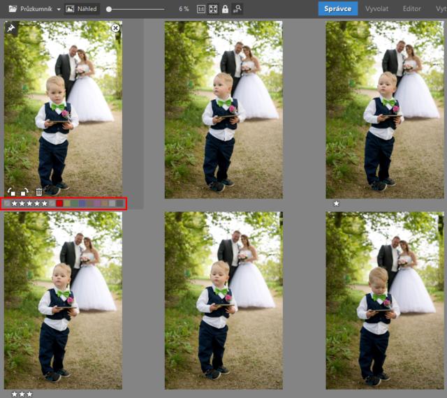 Třídění fotek v Multiselekci.