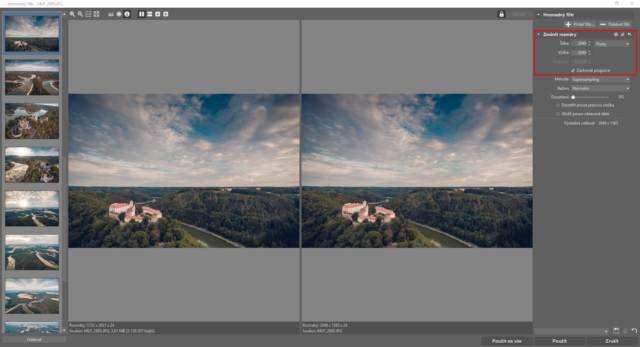 Zadání rozměrů fotografií v Hromadném filtru.
