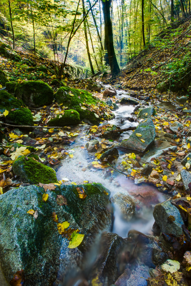 Fotografie tekoucí vody v přírodě.