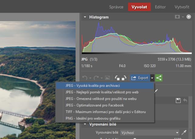 Změna velikosti fotek při exportu z modulu Vyvolat.