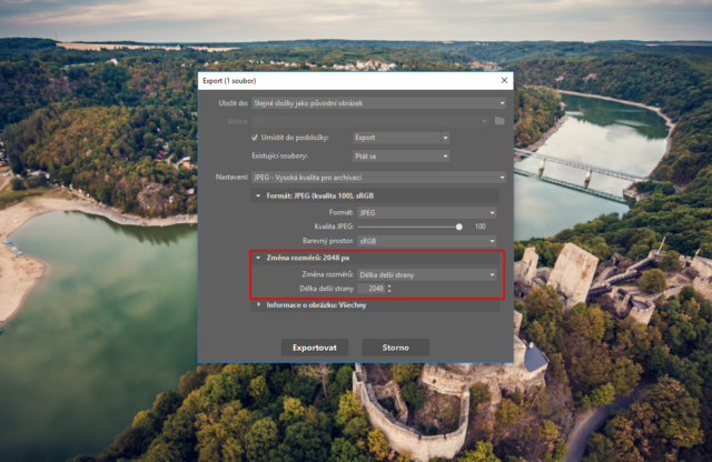 Nastavení rozměrů fotografie při exportu.