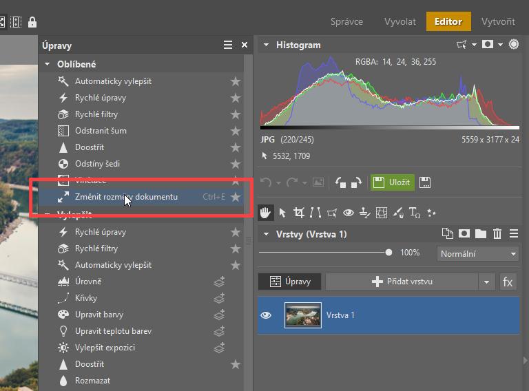 Jak změnit velikost fotek - změna rozměrů v editoru