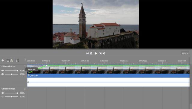 Stříhání videa v ZPS X: úprava úrovní.