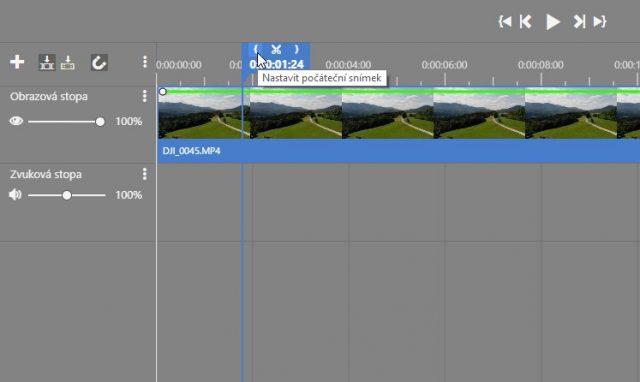 Stříhání videa v ZPS X: zadání bodu na časové ose.