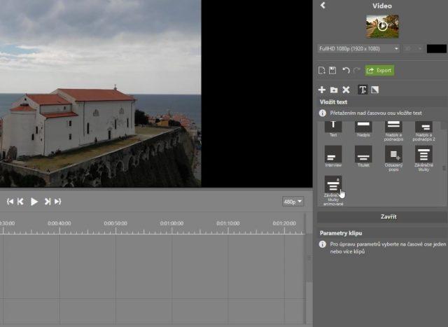 Stříhání videa v ZPS X: vložení textu.