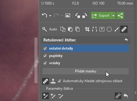 Ve Vyvolat si můžete retušování usnadnit pomocí masek, které můžete zpětně upravovat.