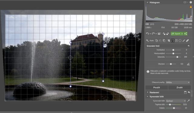 Úprava fotografií v protisvětle - srovnání linií