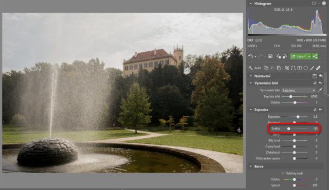 Úprava fotografií v protisvětle - úprava světel