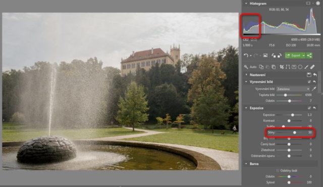 Úprava fotografií v protisvětle - úprava stínů