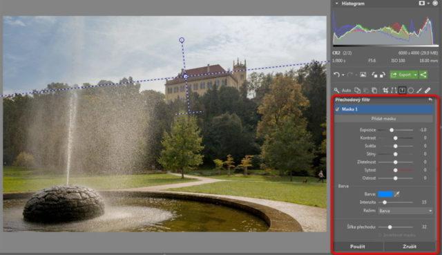 Úprava fotografií v protisvětle - přechodový filtr