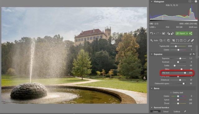 Úprava fotografií v protisvětle - bílý bod