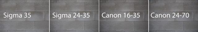 Test objektivů: geometrické zkreslení Sigma a Canon.