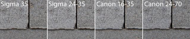 Test objektivů: test ostrosti Sigma a Canon - střed.