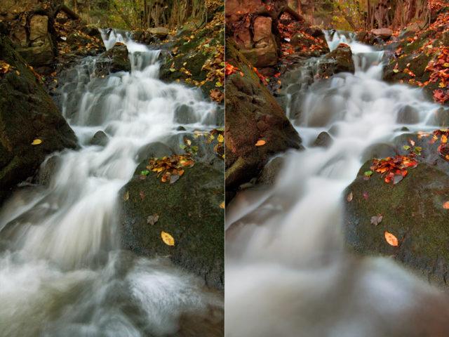 Jak fotit pohyb: porovnání snímků vody s odlišným expozičním časem.