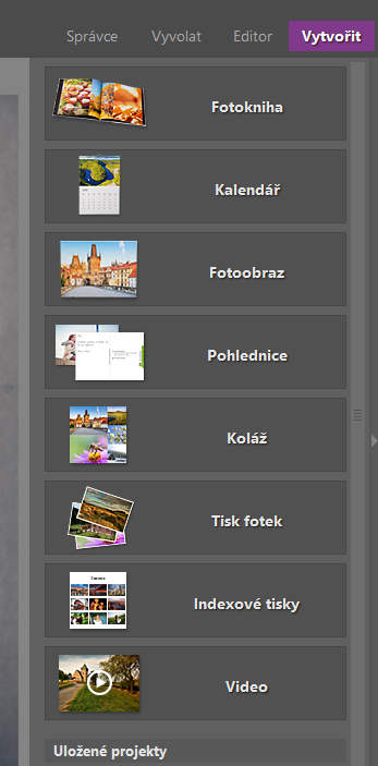 Vytvořte vlastní fotodárky: modul Vytvořit.