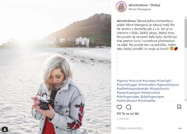 Martina Aki Votrubová: ukázkový post na Instagram