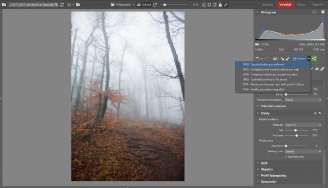 Jak fotit a upravovat krajinu v mlze: export snímku.