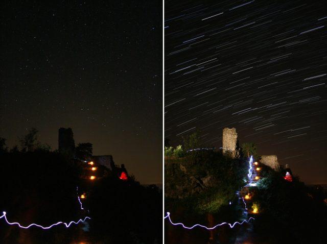 Jak fotit star trails: hvezdy a světla na Zubštejně.