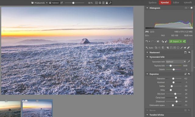 Zimní krajina a typické úpravy: úprava vzhledu pomocí Odstranění oparu v Zoner Photo Studiu.