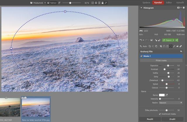 Zimní krajina a typické úpravy: vinětace pomocí Kruhového filtru v Zoner Photo Studiu.