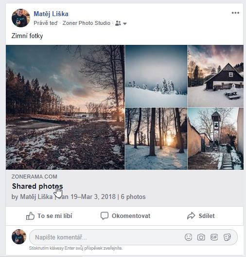 Sdílejte fotky ze ZPS přímo na Facebook - zeď