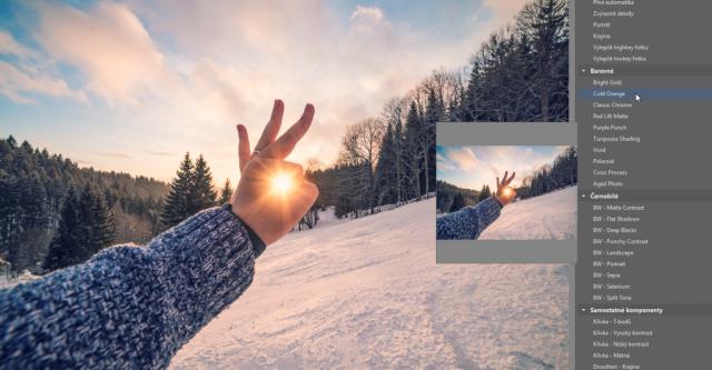 Úprava fotek pomocí presetů: použití presetu Cold Orange.