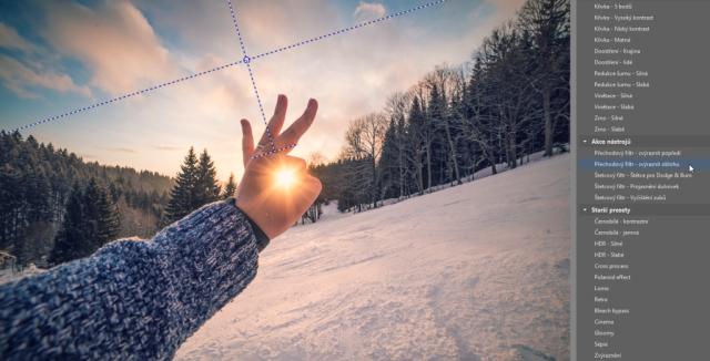 Úprava fotek pomocí preset: přechodový filtr.