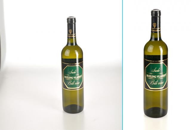 Retuš produktových fotografií: víno před a po retuši.