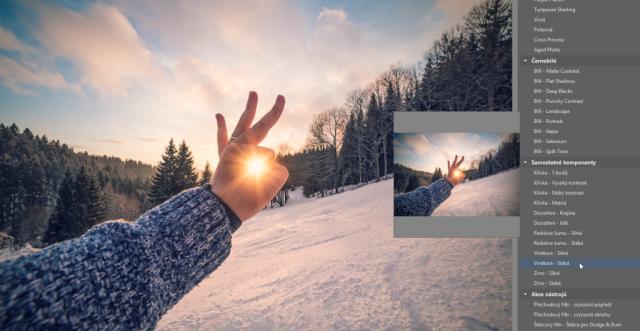 Úprava fotek pomocí presetů: přidání vinětace.