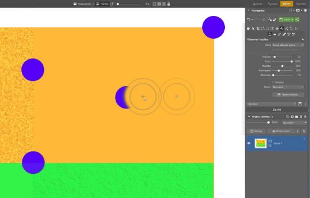 Možnosti retuše v ZPS X: klonovací razítko na hladkém pozadí.