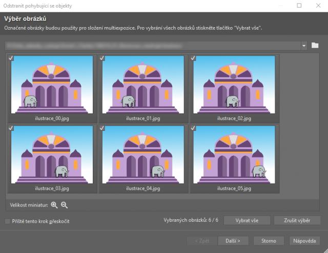 Možnosti retuše v ZPS X: výběr obrázků pro skládání multiexpozic.