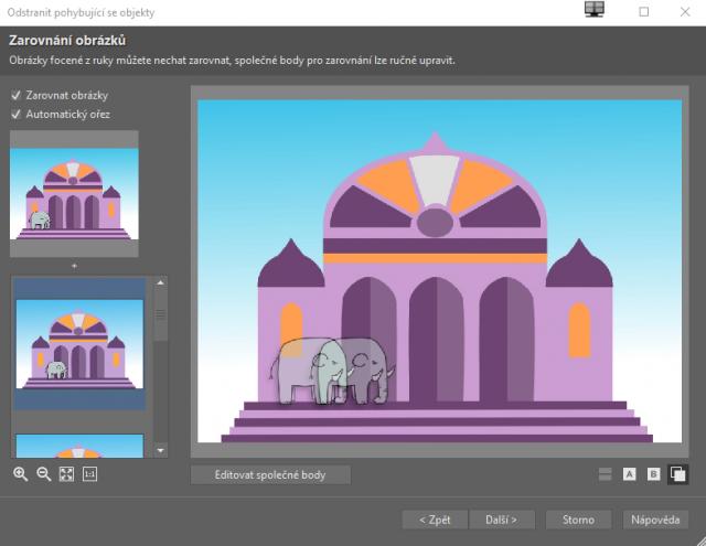 Možnosti retuše v ZPS X: zarovnání obrázků při skládání multiexpozic.