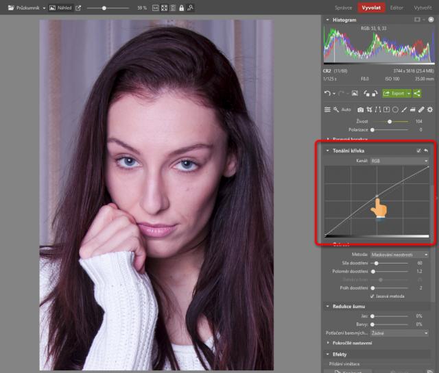 Jak upravovat portréty: tonální křivka.