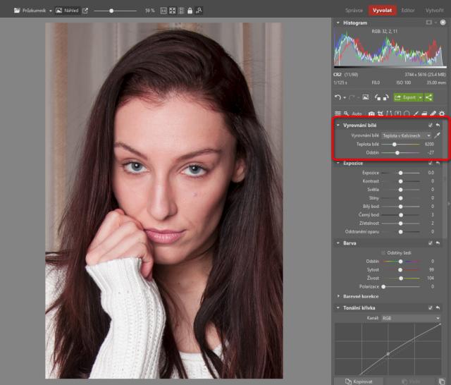 Jak upravovat portréty: správné vyvážení bílé.