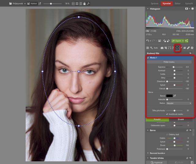 Jak upravovat portréty: zvýrazněné portrétu kruhovým filtrem.