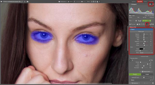 Jak upravovat portréty: doostření očí štětcovým filtrem.