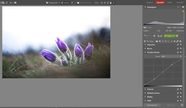 Úprava fotografie pomocí křivek