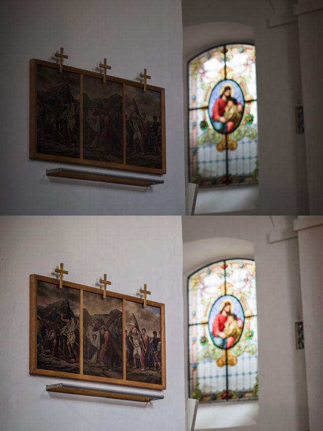 Jak fotit v kostele: originální a zesvětlený snímek.
