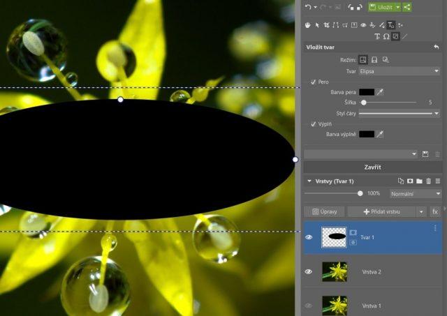Jak vytvořit kruhový ořez: vložení elipsy pro tvorbu ořezu ve tvaru květu.