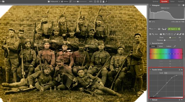 Jak upravit staré fotografie: zvýšení kontrastu.