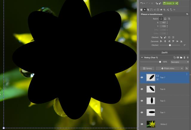 Jak vytvořit kruhový ořez: vytvoření květu pomocí vrstev s vložením tvaru.