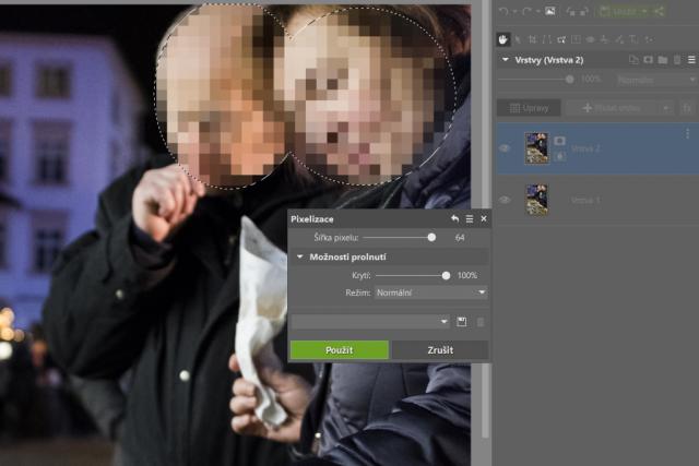 Jak rozmazat obličej na fotce (GDPR a fotky): pixelizace.